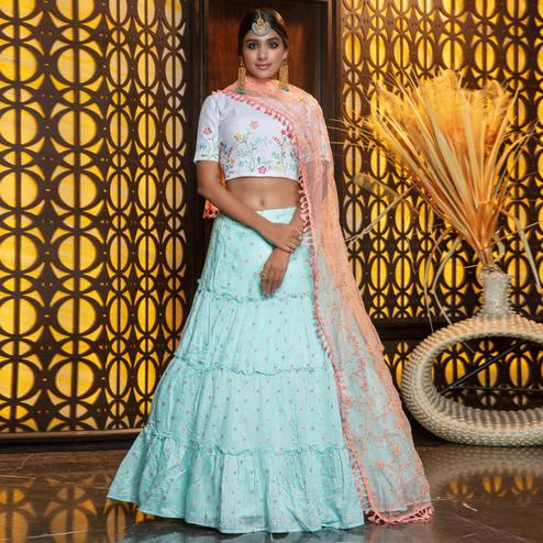 Elegant Sky Blue Colored Partywear Woven Cotton Lehenga Choli