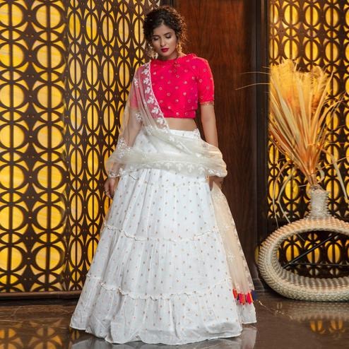 Radiant White Colored Partywear Woven Cotton Lehenga Choli
