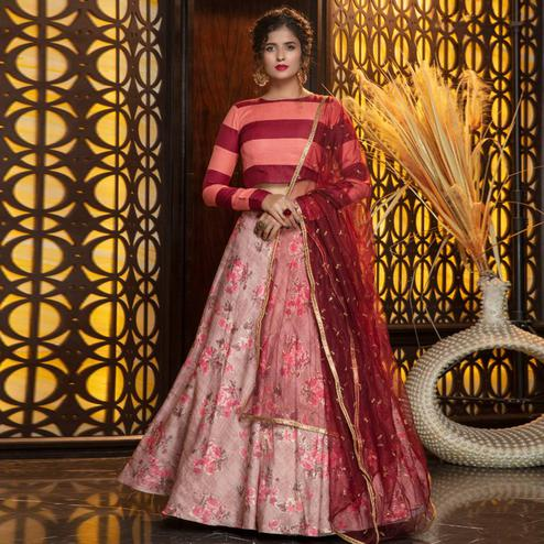 Opulent Pink Colored Partywear Foil Printed Rayon Lehenga Choli