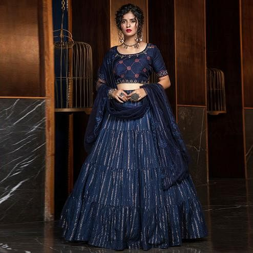 Glowing Navy Blue Colored Partywear Woven Cotton Lehenga Choli