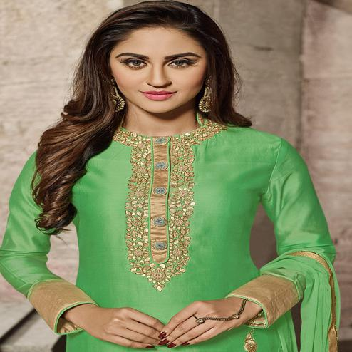 Dazzling Green Designer Embroidered Glass Cotton Salwar Suit