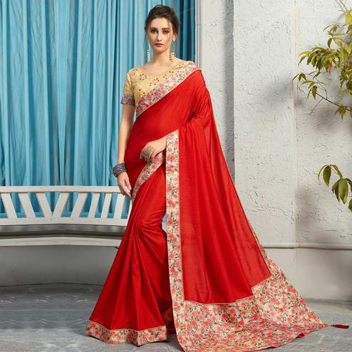 Indian Women Red Colored Festive Wear Woven Poly Silk Saree