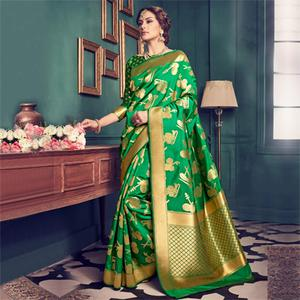 Green Festive Wear Weaving Saree