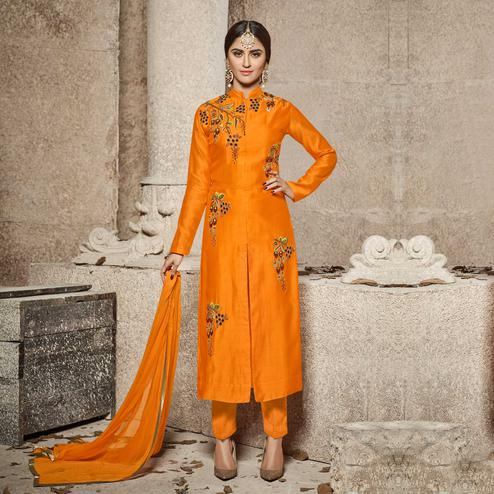 Flamboyant Orange Designer Embroidered Glass Cotton Salwar Suit