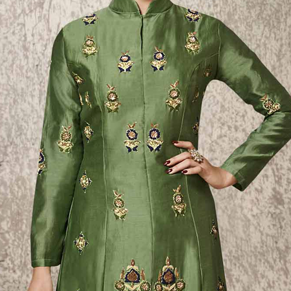 Gorgeous Green Designer Embroidered Glass Cotton Salwar Suit