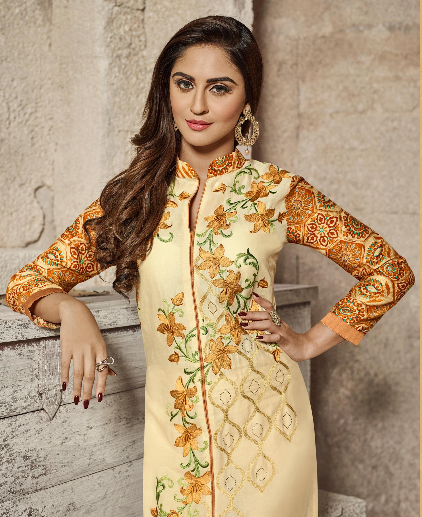 Attractive Cream Colored Designer Embroidered Glass Cotton Salwar Suit