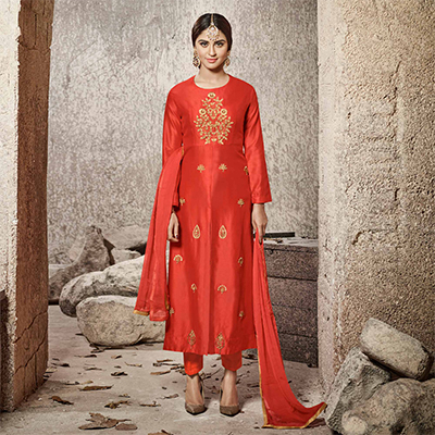 Mesmerising Red Designer Embroidered Glass Cotton Salwar Suit