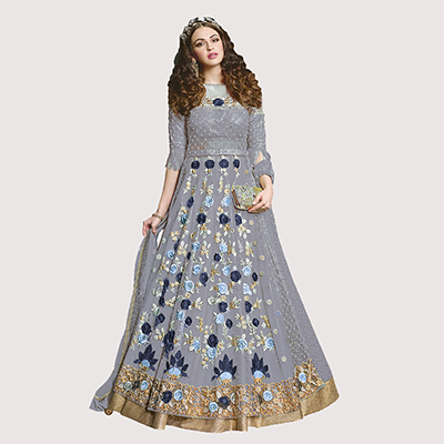 Graceful Grey Designer Embroidered Net Lehenga Kameez