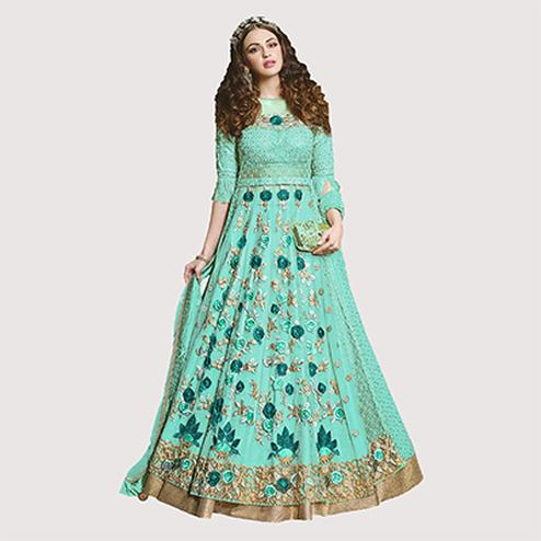 Adorable Sea Green Designer Embroidered Net Lehenga Kameez
