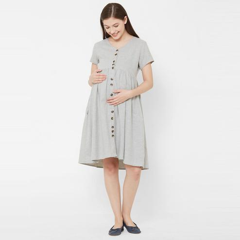Mystere Paris - Grey Colored Casual Classic Button Down Maternity Dress