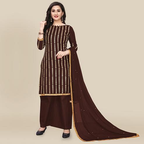 IRIS - Coffee Brown Colored Partywear Gotapatti Embroidered Work Cotton Dress Material