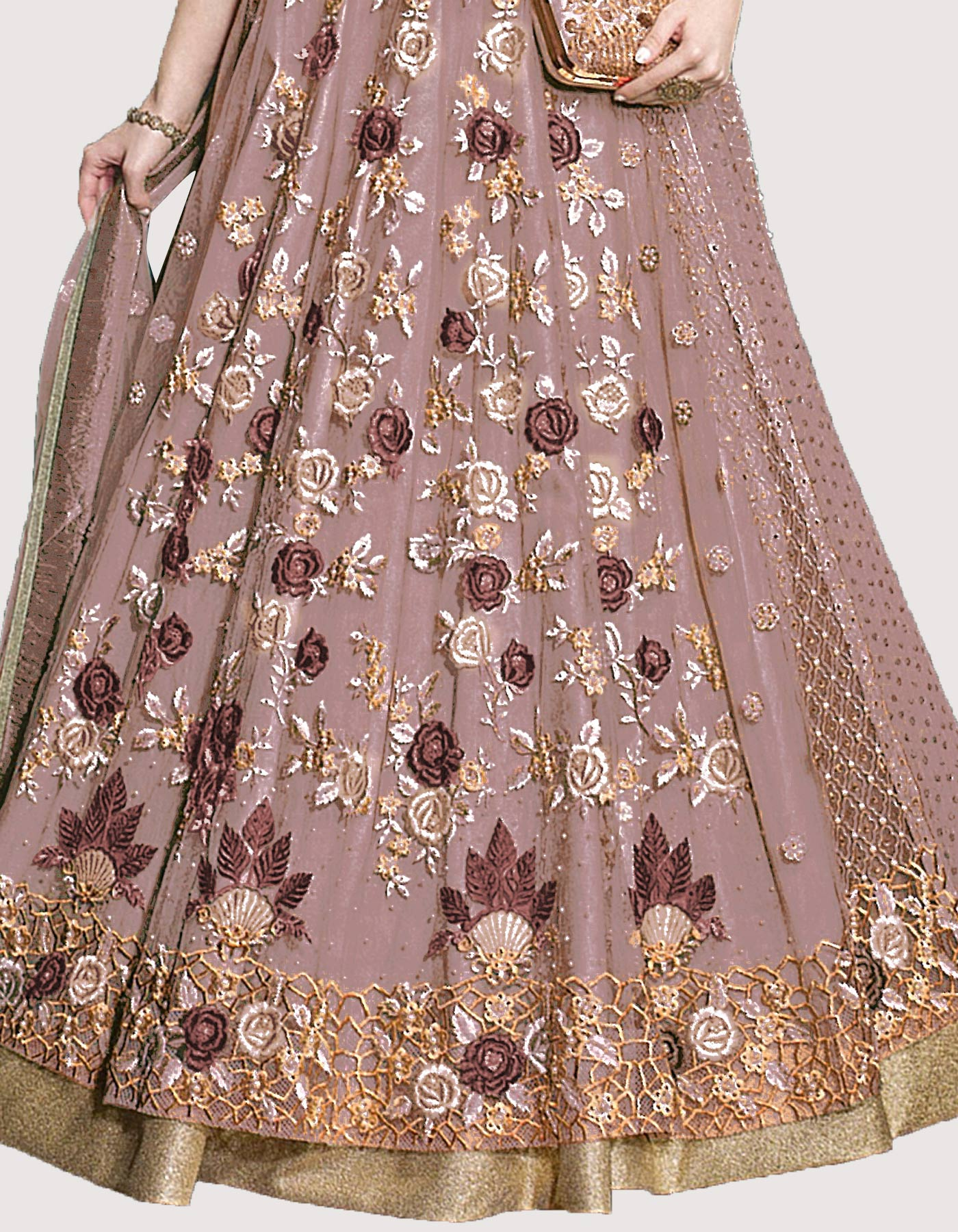 Charming Dusty Purple Designer Embroidered Net Lehenga Kameez