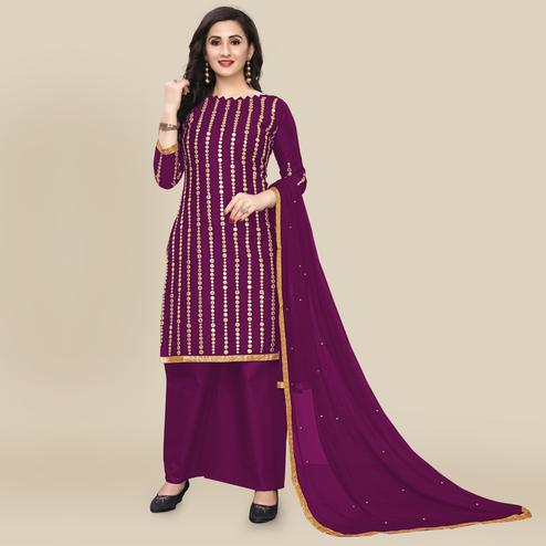 IRIS - Purple Colored Partywear Gotapatti Embroidered Work Cotton Dress Material