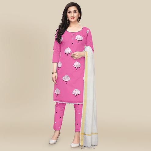 IRIS - Pink Colored Partywear Embroidered Work Cotton Dress Material