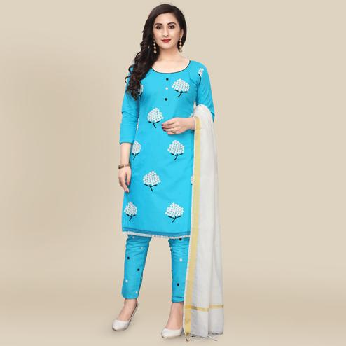 IRIS - Sky Blue Colored Partywear Embroidered Work Cotton Dress Material
