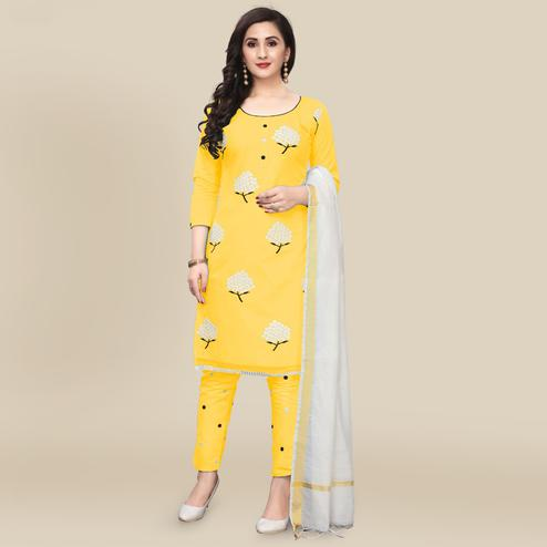 IRIS - Yellow Colored Partywear Embroidered Work Cotton Dress Material