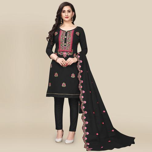 IRIS - Black Colored Partywear Embroidered Work Cotton Dress Material