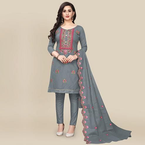 IRIS - Grey Colored Partywear Embroidered Work Cotton Dress Material