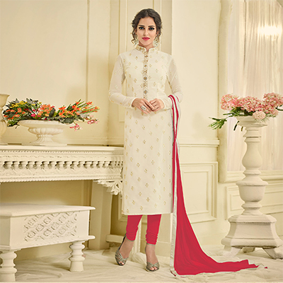 Beautiful Off White Designer Embroidered Georgette Straight Suit