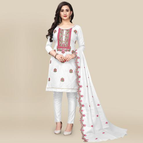 IRIS - White Colored Partywear Embroidered Work Cotton Dress Material