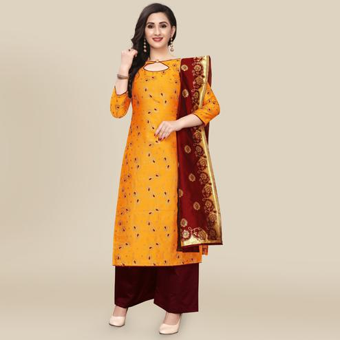 IRIS - Mustard Yellow Colored Partywear Banarasi Jacquard Dress Material