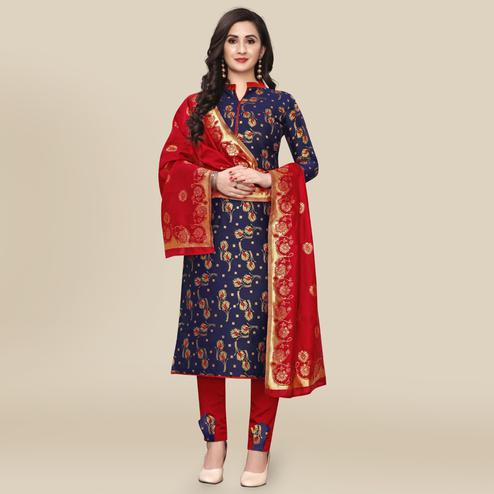 IRIS - Navy Blue Colored Partywear Banarasi Jacquard Dress Material