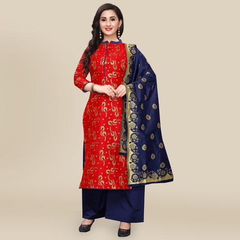 IRIS - Red Colored Partywear Banarasi Jacquard Dress Material