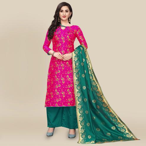 IRIS - Pink Colored Partywear Banarasi Jacquard Dress Material