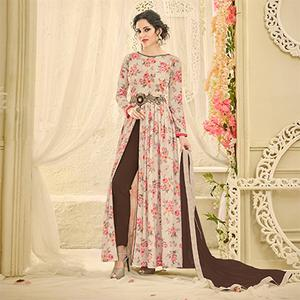 Elegant Beige Designer Embroidered Japan Satin Anarkali Suit