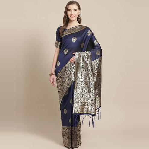 Glorious Navy Blue Colored Festive Wear Woven Silk Blend Saree