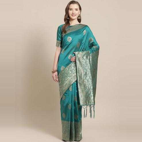 Beautiful Teal Green Colored Festive Wear Woven Silk Blend Saree