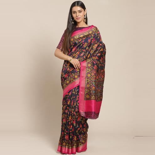 Blooming Navy Blue Casual Wear Floral Printed Cotton Silk Saree