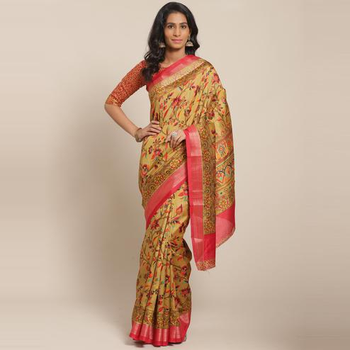Charming Olive Green Casual Wear Floral Printed Cotton Silk Saree