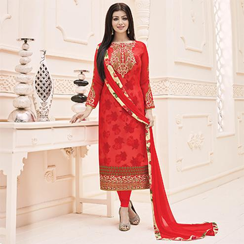 Red Party Wear Faux Georgette Suit