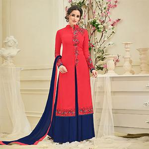 Lipstick Red Designer Embroidered Georgette Suit