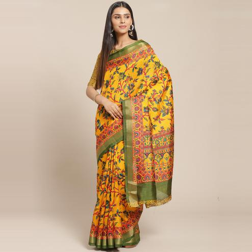 Jazzy Mustard Casual Wear Floral Printed Cotton Silk Saree