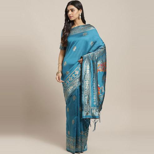 Delightful Teal Blue Colored Festive Wear Woven Silk Blend Saree