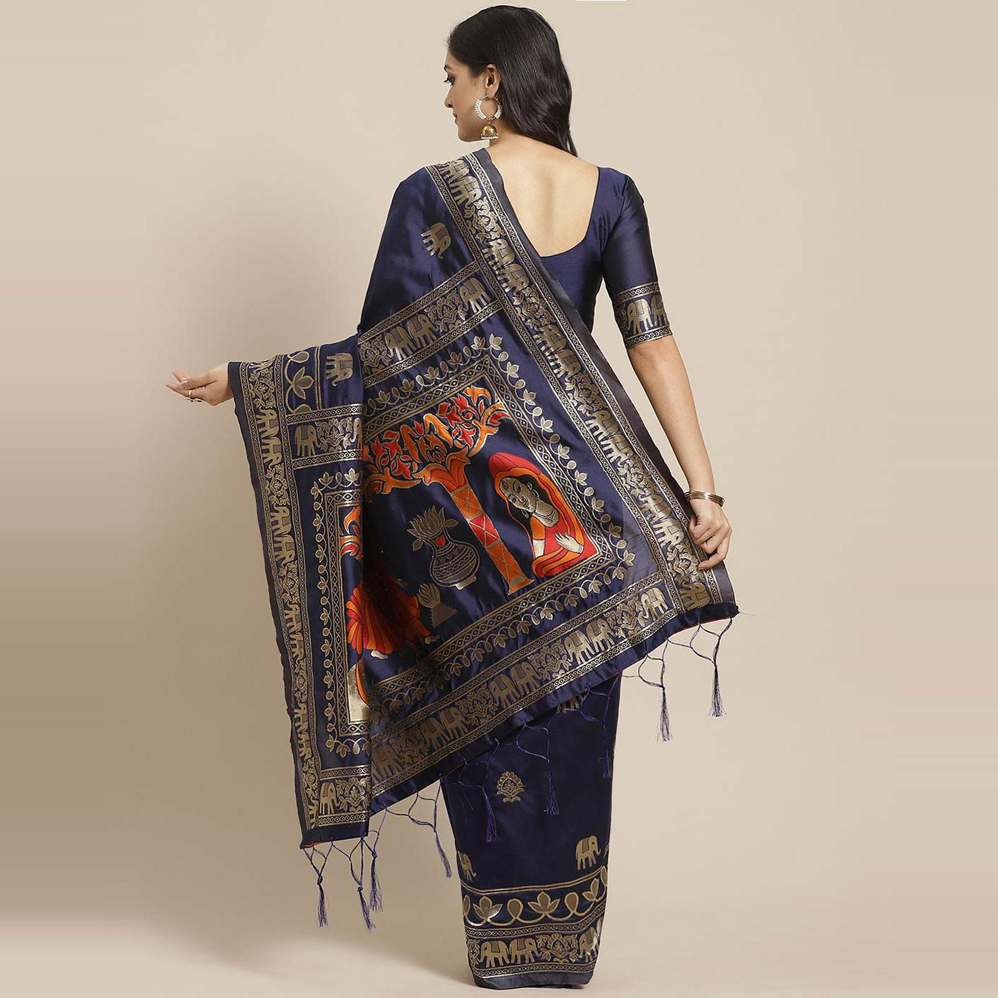 Engrossing Navy Blue Colored Festive Wear Woven Silk Blend Saree