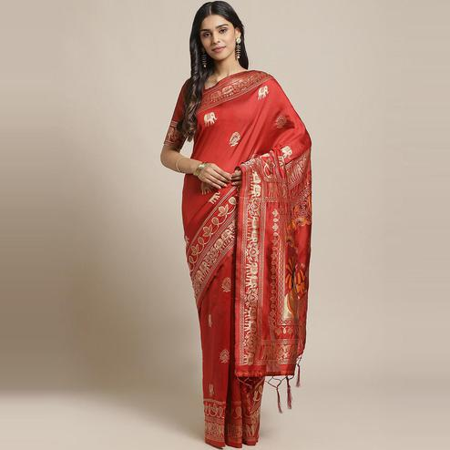 Captivating Maroon Colored Festive Wear Woven Silk Blend Saree