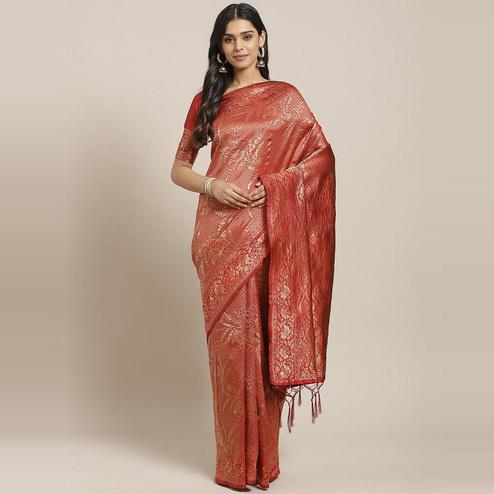 Amazing Maroon Colored Festive Wear Woven Silk Blend Saree