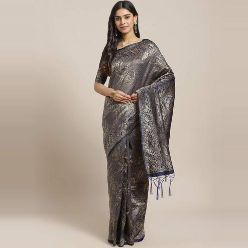 Blissful Navy Blue Colored Festive Wear Woven Silk Blend Saree
