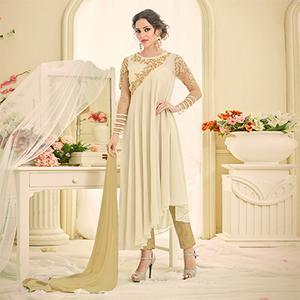 Classy Off-White Designer Embroidered Georgette Anarkali Suit