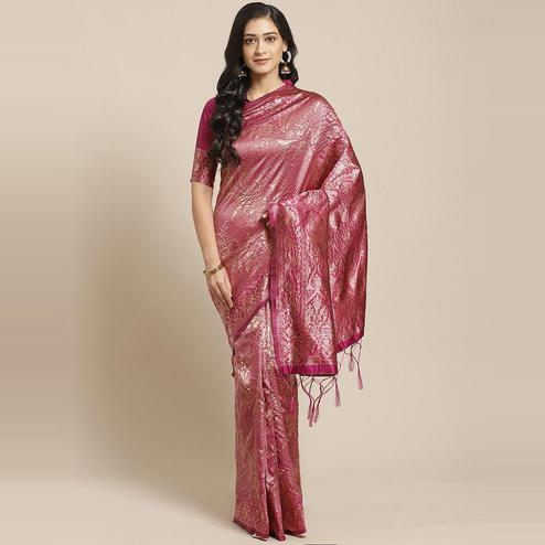 Ideal Pink Colored Festive Wear Woven Silk Blend Saree