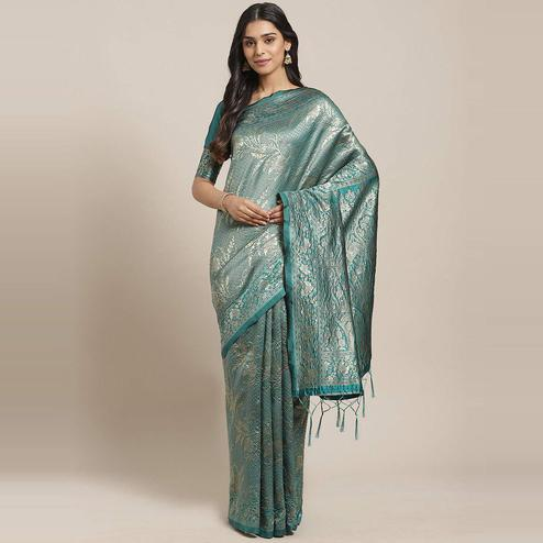 Imposing Teal Green Colored Festive Wear Woven Silk Blend Saree