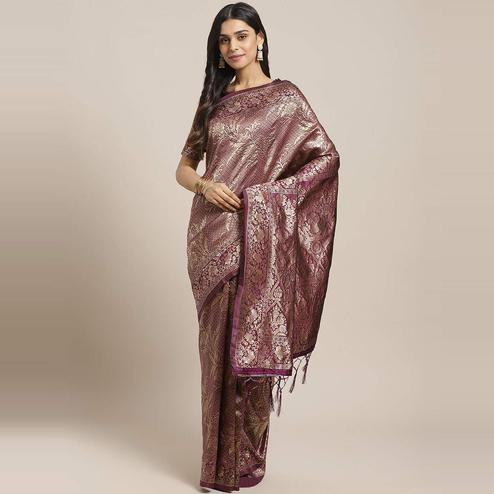 Lovely Wine Colored Festive Wear Woven Silk Blend Saree