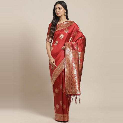 Majesty Maroon Colored Festive Wear Woven Silk Blend Saree