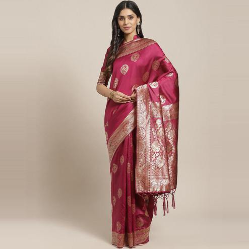 Mesmerising Magenta Colored Festive Wear Woven Silk Blend Saree