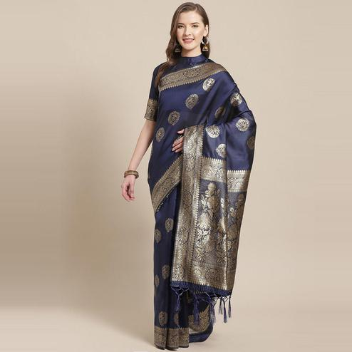Pleasance Navy Blue Colored Festive Wear Woven Silk Blend Saree