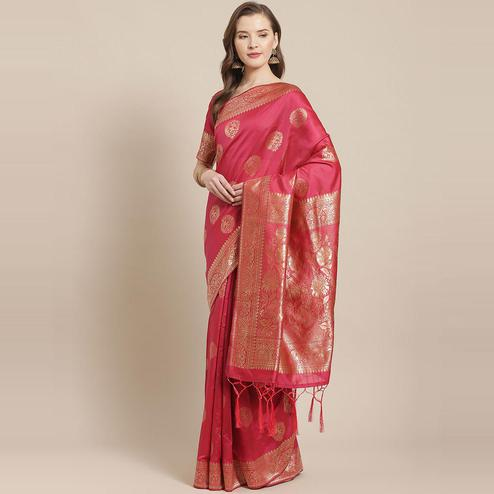 Ethnic Pink Colored Festive Wear Woven Silk Blend Saree
