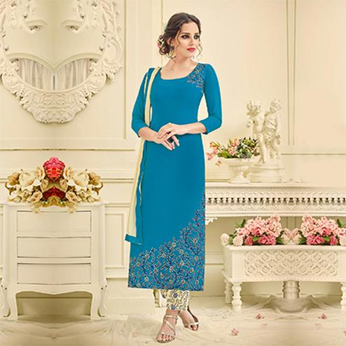 Vibrant Blue Designer Embroidered Georgette Pant Style Suit
